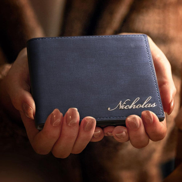 Men's Custom Name Wallet Blue Leather Classic Short Wallet
