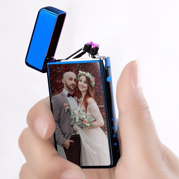 Custom Photo Engraved Lighter Color Printing | Electronic Cigarette Lighter | Blue