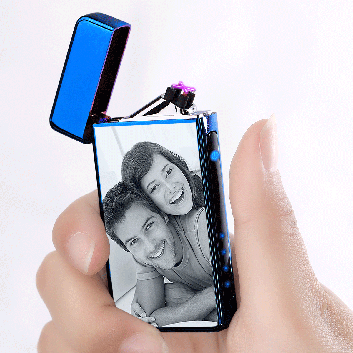Custom Engraved Photo Lighter | Electronic Cigarette Lighter | Blue
