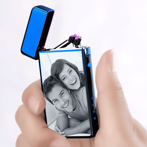 Custom Photo Engraved Lighter | Electronic Cigarette Lighter | Blue