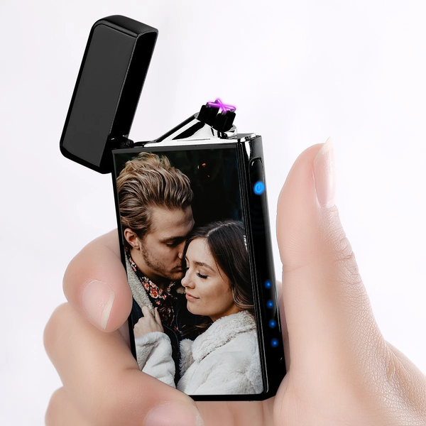 Custom Photo Engraved Lighter Color Printing | Electronic Cigarette Lighter | Black