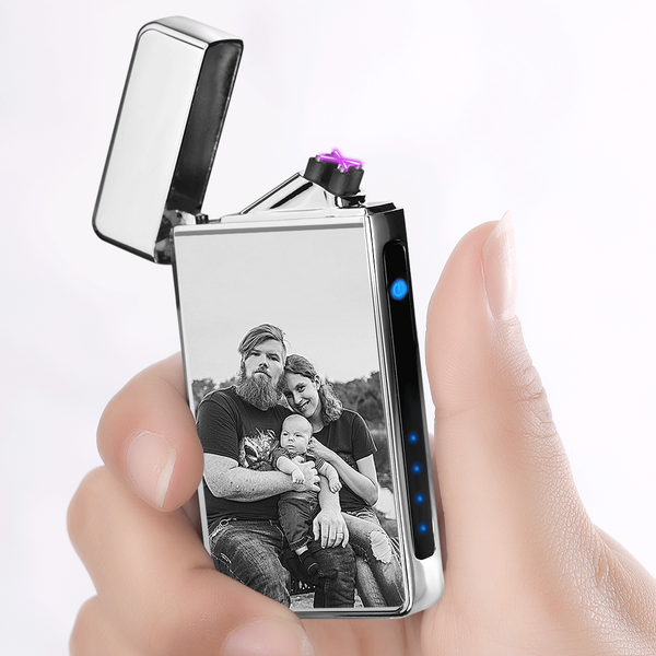Custom Photo Engraved Lighter | Electronic Cigarette Lighter | Silver