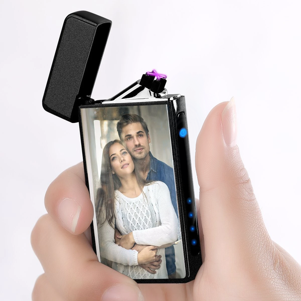 Custom Photo Engraved Lighter Color Printing | Electronic Cigarette Lighter | Scrub Black