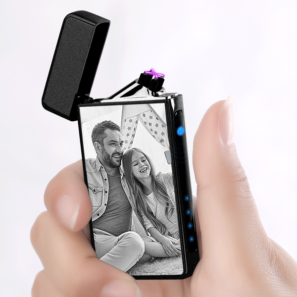 Custom Photo Engraved Lighter | Electronic Cigarette Lighter | Scrub Black