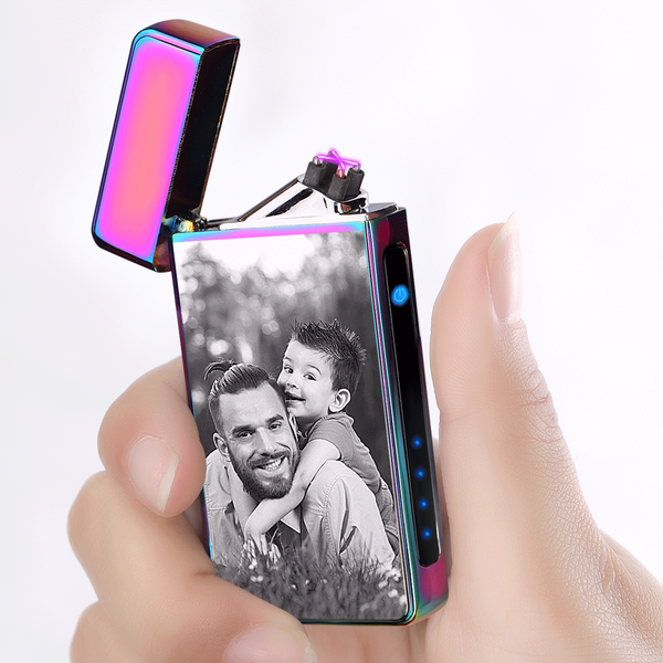 Custom Engraved Photo Lighter | Electronic Cigarette Lighter | Purple