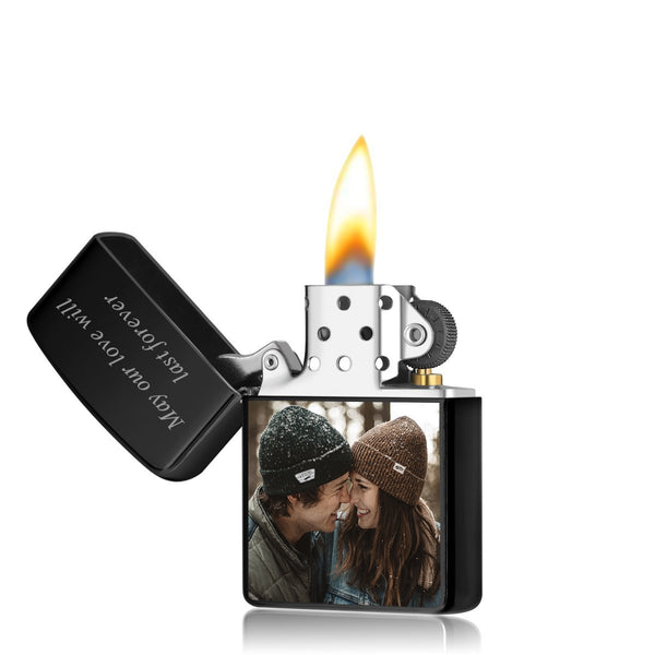Custom Photo Engraved Lighter Color Printing | Zippo Style Black