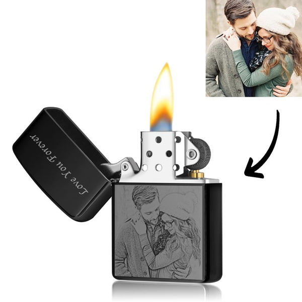 Custom Photo Engraved Lighter | Zippo Style Black