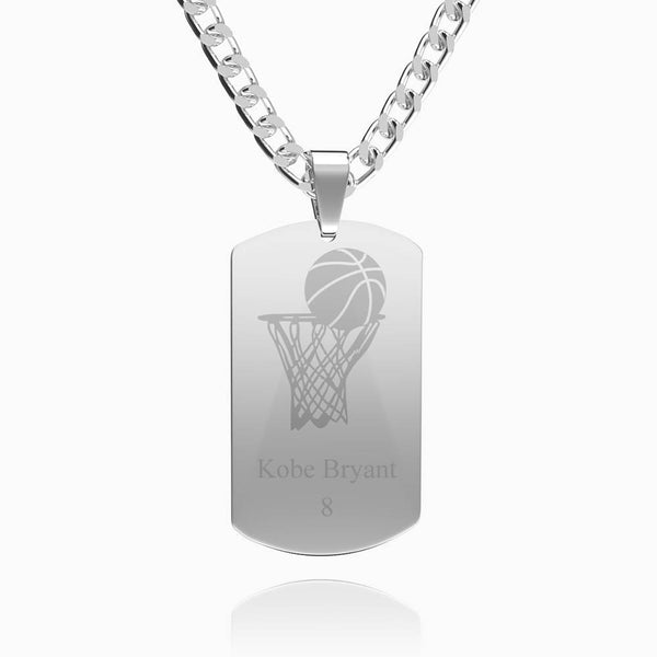 Men's Photo Engraved Dog Tag Necklace Stainless Steel