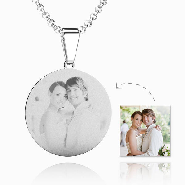 Women's Round Photo Engraved Dog Tag Necklace Stainless Steel