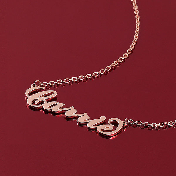 """Carrie"" Style Name Necklace Rose Gold"