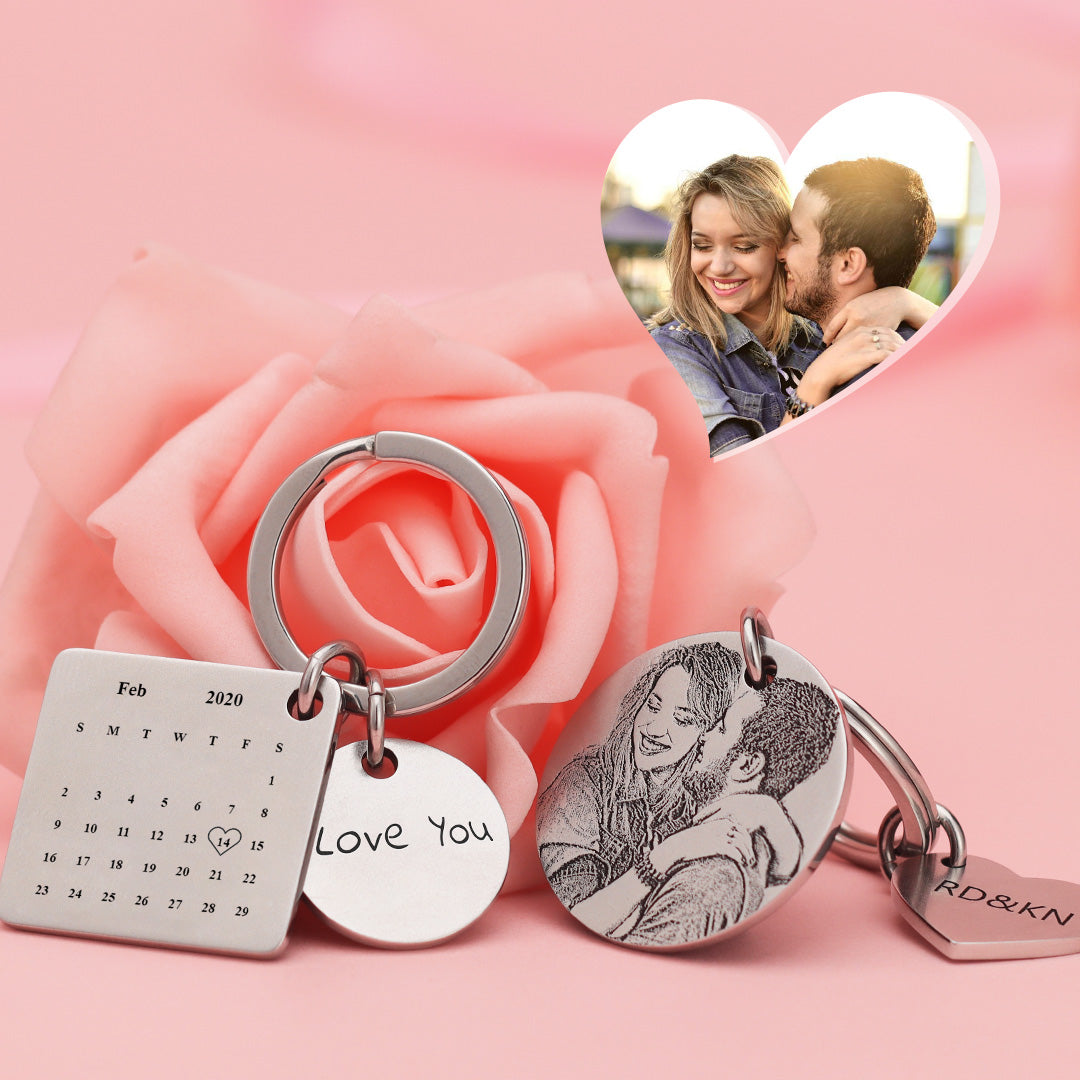 Valentine's Day Gift | Custom Photo Engraved Calendar Keychain