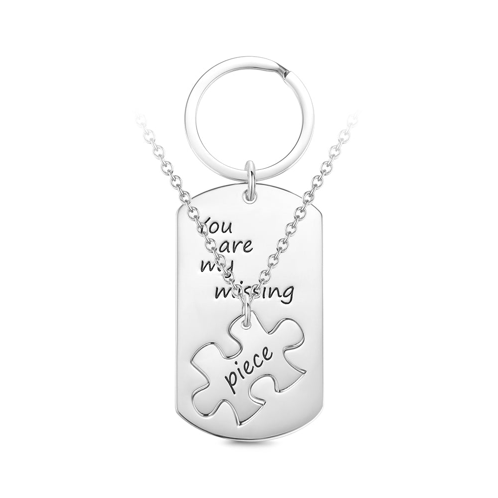 Custom Engraved Couple Keychain and Necklace Set - Puzzle Dog Tag