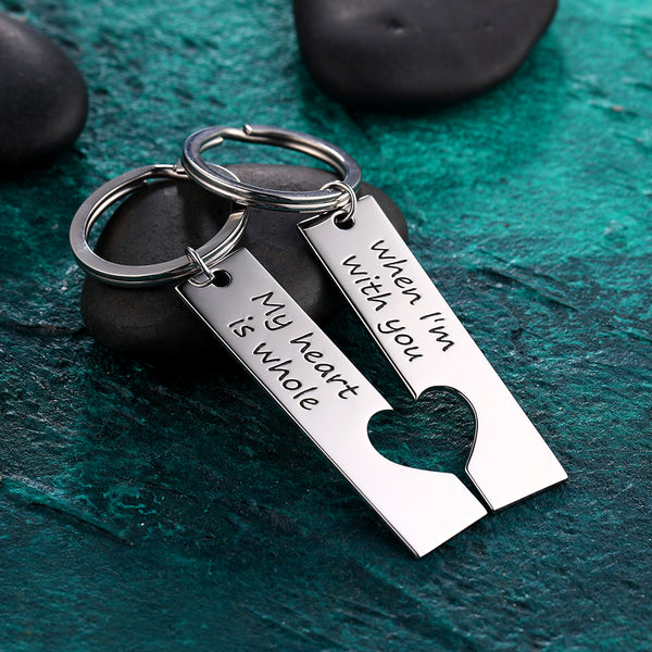 Custom Engraved Couple Vertical Bar Keychain Set