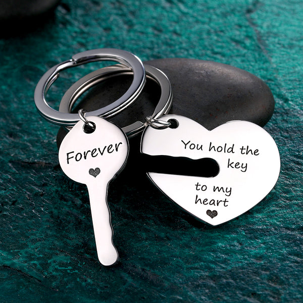 Custom Engraved Couple Keychain Set - Hold The Key To My Heart