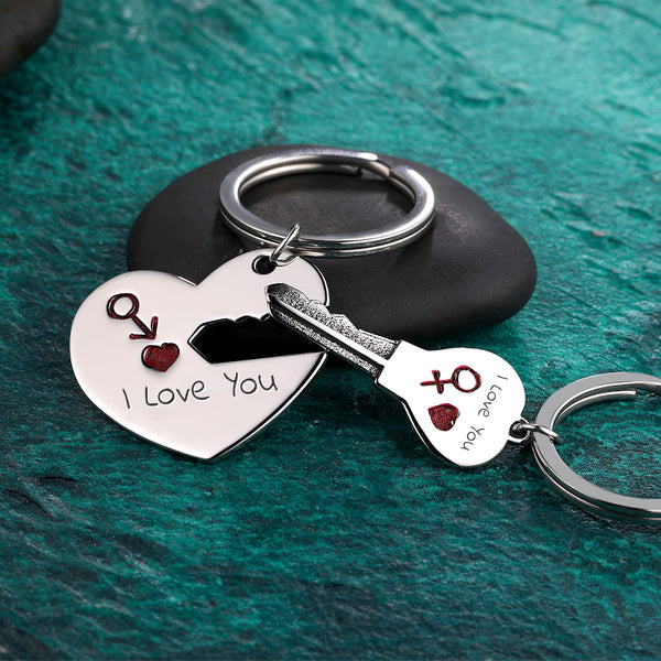 Custom Engraved Heart Lock and Key Couple Keychain Set