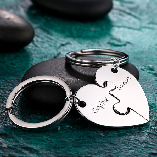 Custom Engraved Heart Puzzle Couple Keychain Set