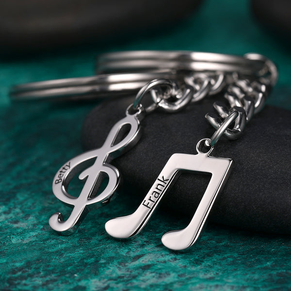 Custom Engraved Name Musical Note Puzzle Couple Keychain Set