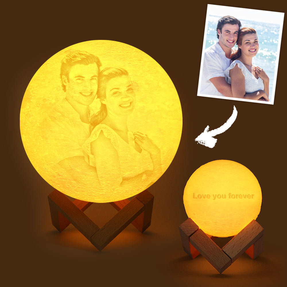 Custom Engraved 3D Printing Photo Moon Lamp | Touch to Convert 2 Colors