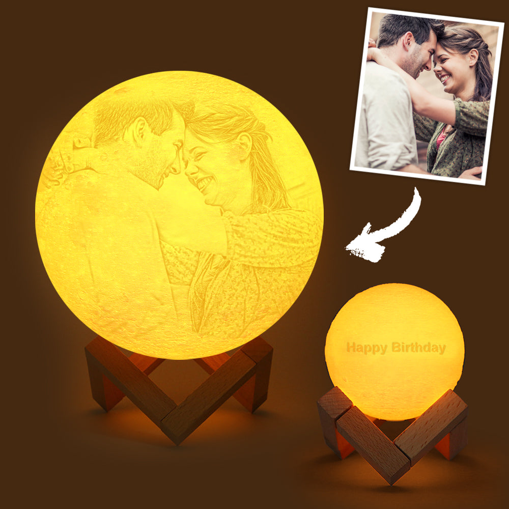 Custom Engraved 3D Printing Photo Moon Lamp | Tap to Convert 3 Colors