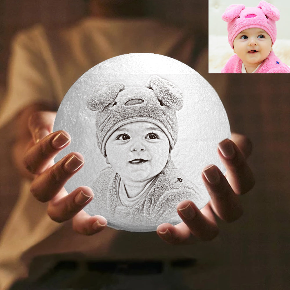 Custom Engraved 3D Printing Photo Moon Lamp | Touch to Convert 2 Colors | Baby Gift