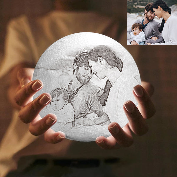 Custom Engraved 3D Photo Moon Lamp | Touch to Convert 2 Colors | Family Gift