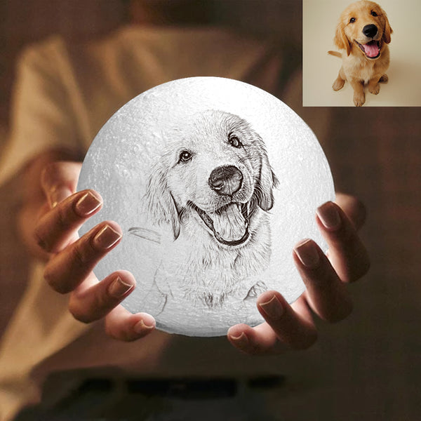 Custom Engraved 3D Printing Photo Moon Lamp | Touch to Convert 2 Colors | Lovely Pet