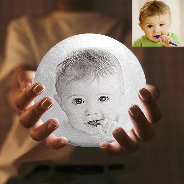 Custom Engraved 3D Photo Moon Lamp | Tap to Convert 3 Colors | Baby's Gift