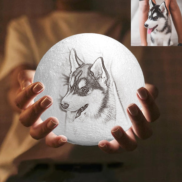 Custom Engraved 3D Printing Photo Moon Lamp | Tap to Convert 3 Colors | Cute Pet