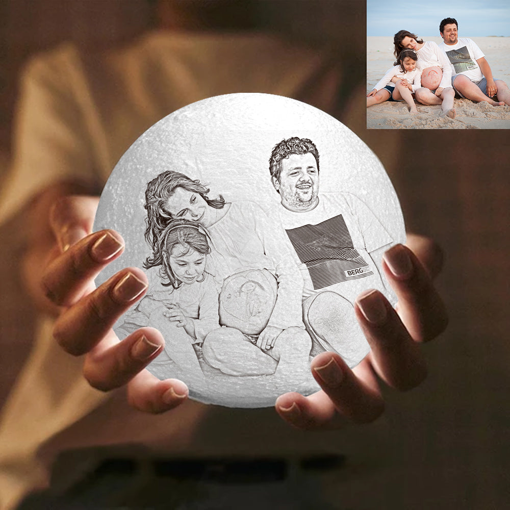 Personalized Engraved 3D Photo Moon Lamp | Remote Control to Convert 16 Colors | Home Decoration