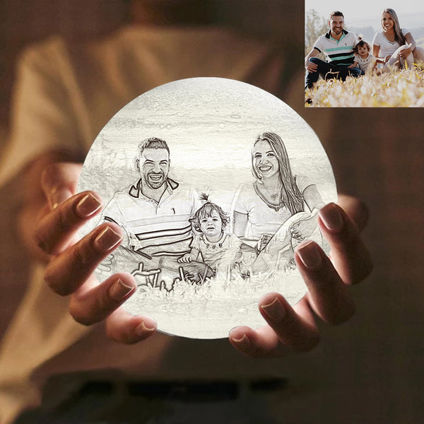 Custom Engraved 3D Printing Photo Jupiter Lamp | Touch to Convert 2 Colors