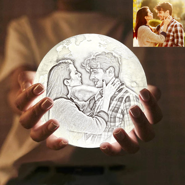 Custom Engraved 3D Printing Photo Earth Lamp | Touch to Convert 2 Colors