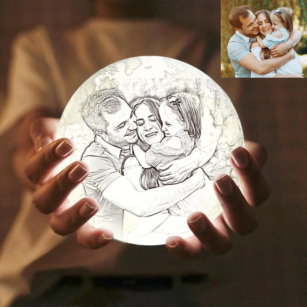 Custom Engraved 3D Printing Photo Earth Lamp | Remote Control to Convert 16 Colors