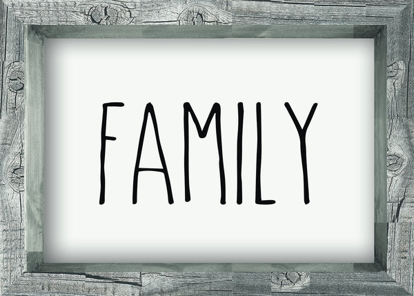 5 X 7 Box Sign Family Framed