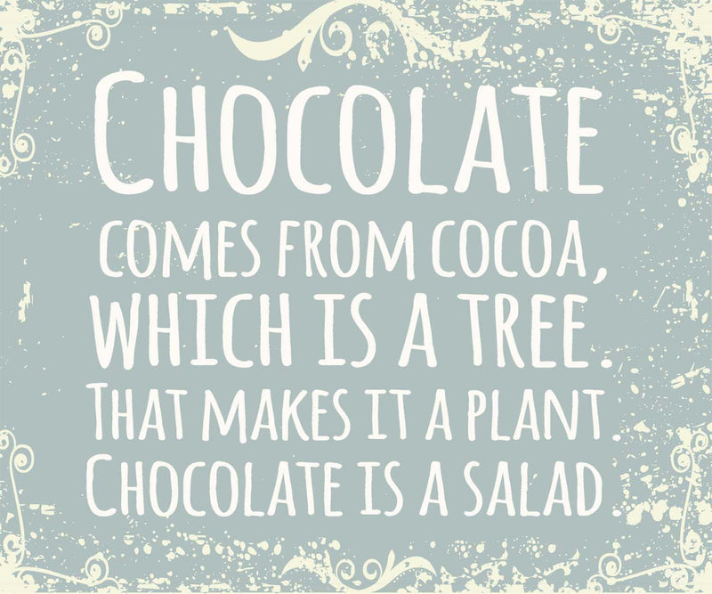 10 X 12 Box Sign Chocolate Comes From Cocoa Which Is A Tree That Makes It A Plant Chocolate Is A Salad