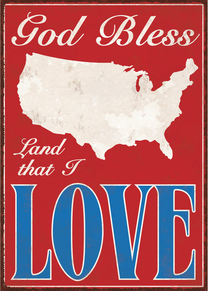 God Bless Land That I Love - 5X7 Box Sign