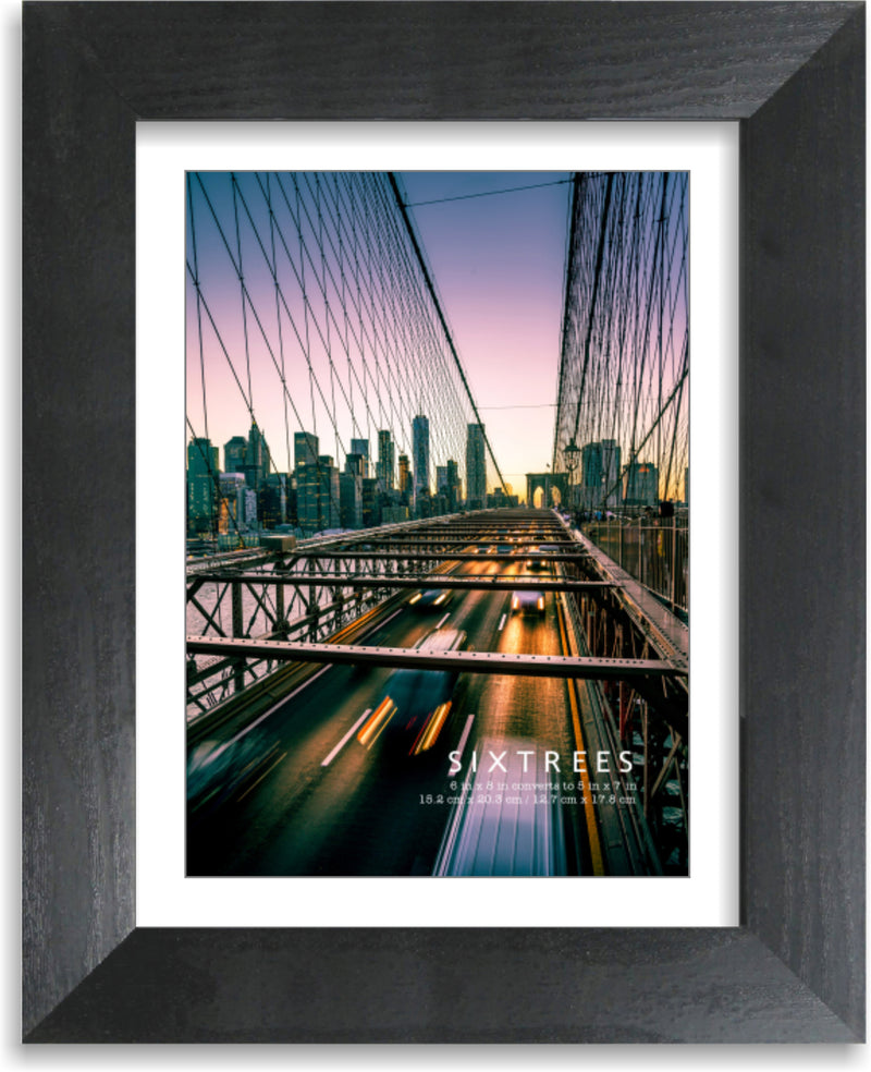Parker Black Matted Wood Picture Frame - 6X8 mats to 5X7