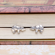 Origami Polar Bear Silver Stud Earrings - Lertvizutte