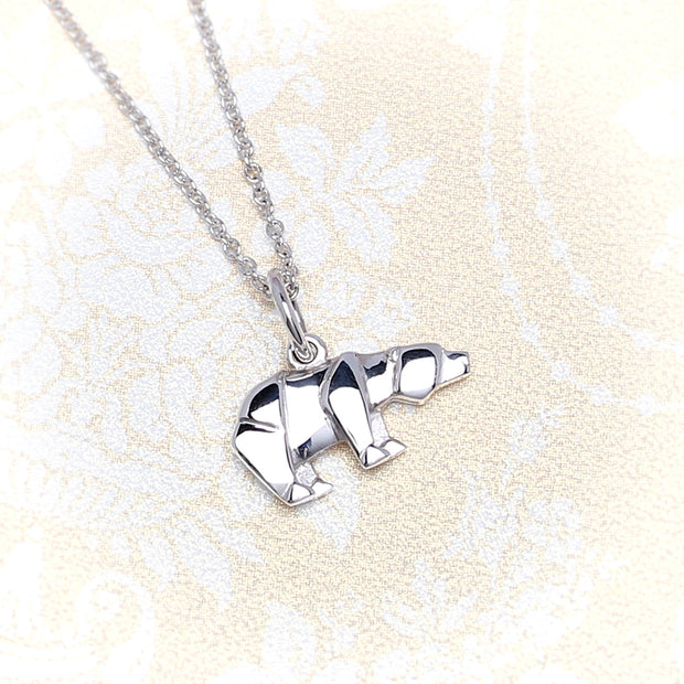 Origami Polar Bear Silver Necklace - Lertvizutte