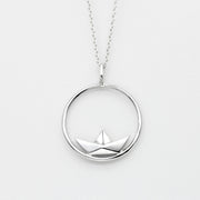 Origami Boat Circle Silver Necklace - Lertvizutte