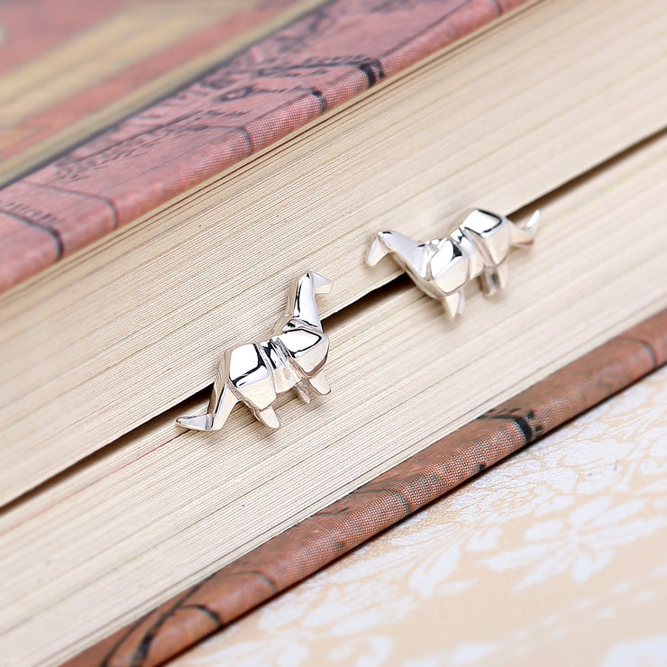 Origami Brontosaurus Silver Stud Earrings - Lertvizutte
