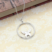 Origami Butterfly Silver Circle Necklace - Lertvizutte