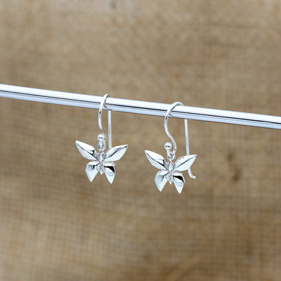 Origami Butterfly Silver Dangle Earrings - Lertvizutte