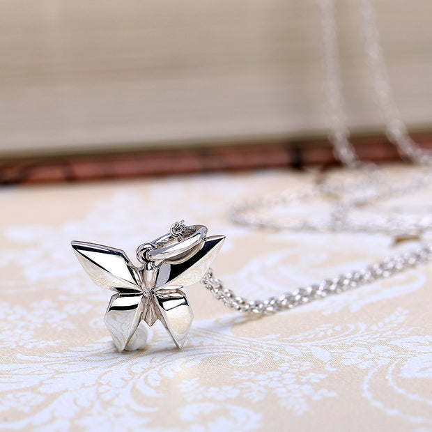 Origami Butterfly Silver Necklace - Lertvizutte