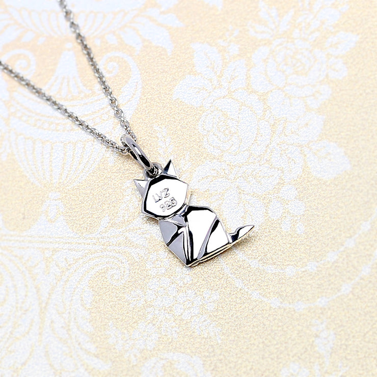 Origami Kitty Cat Silver Necklace - Lertvizutte