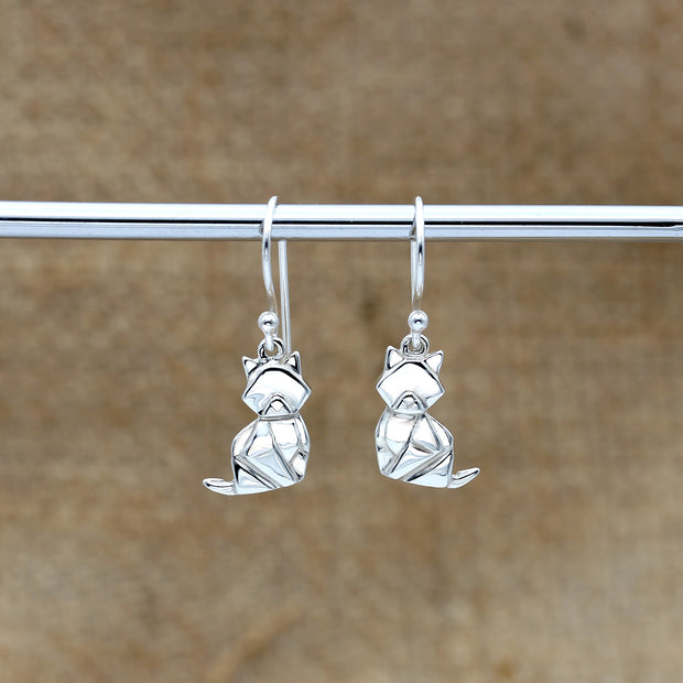 Origami Cat Silver Dangle Earrings - Lertvizutte