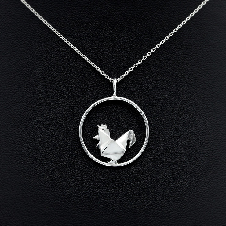 Origami Chicken Silver Circle Necklace - Lertvizutte