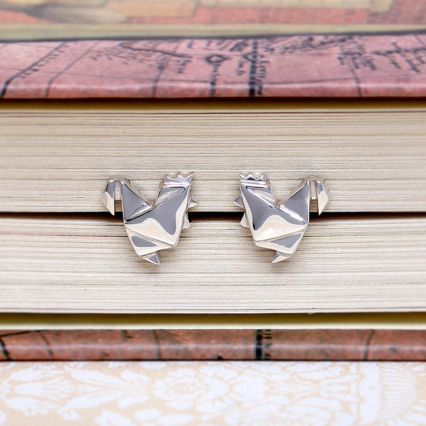 Origami Chicken Silver Stud Earrings - Lertvizutte