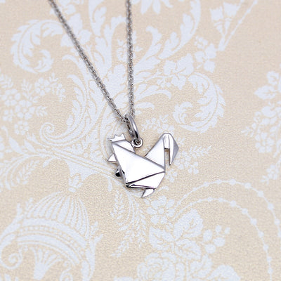 Origami Chicken Silver Necklace - Lertvizutte