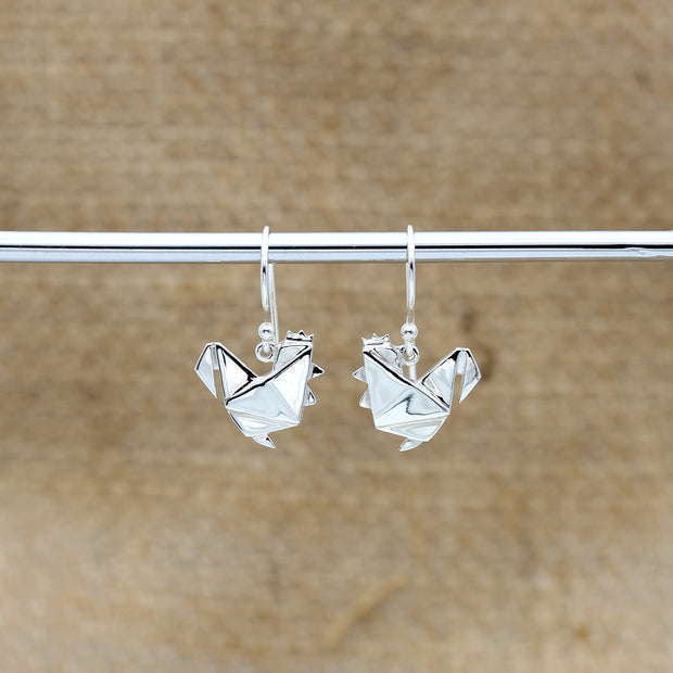 Origami Chicken Silver Dangle Earrings - Lertvizutte