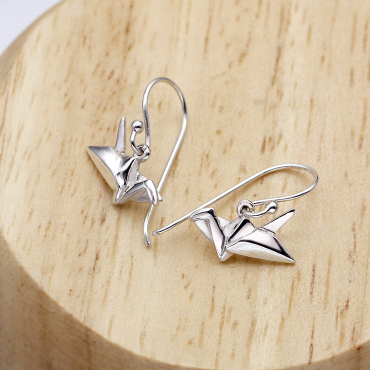 Origami Crane Silver Dangle Earrings - Lertvizutte